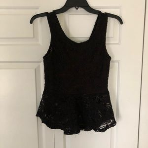 black lace bow tank